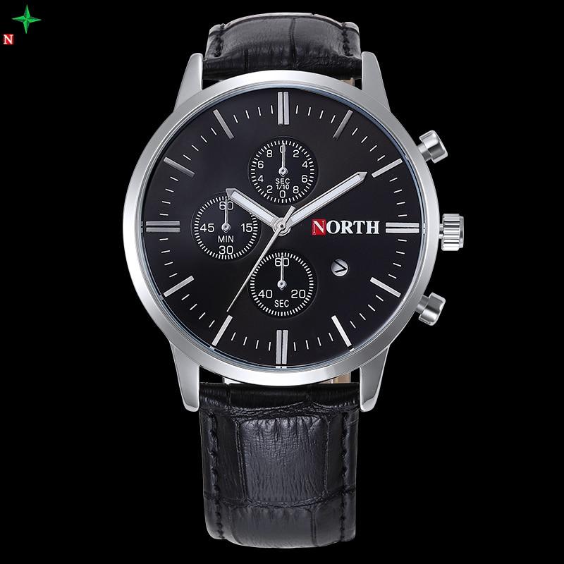 NORTH 2017 Mens Watches Top Brand Luxury Quartz Watches XFCS Leather Waterproof Men s Sports Wristwatches