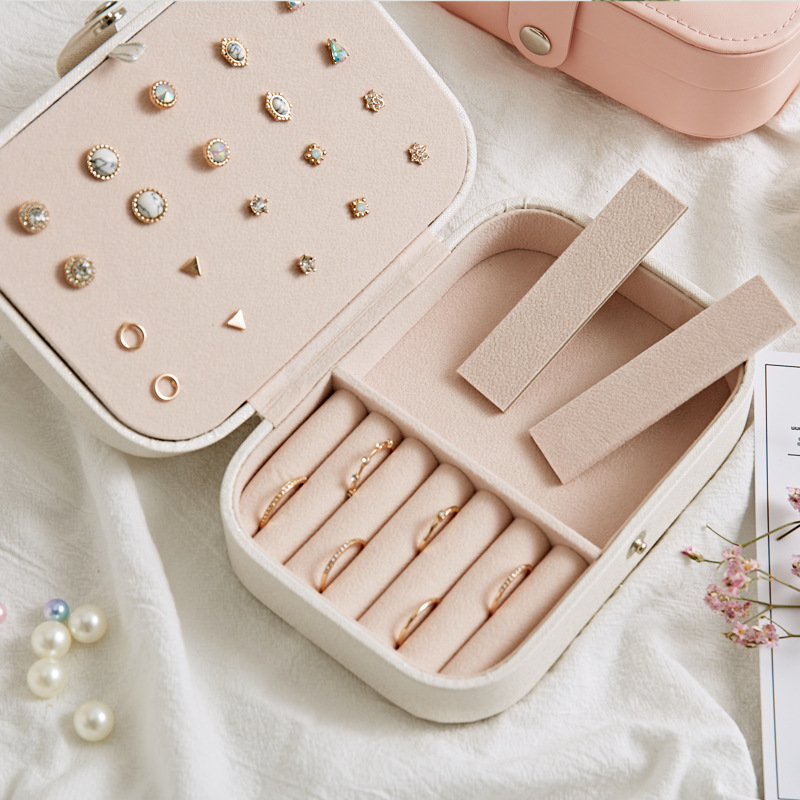 Korean Style Fresh And Simple Girl Earrings Plate Jewelry Box Protable Leather Earrings Ring Multi function
