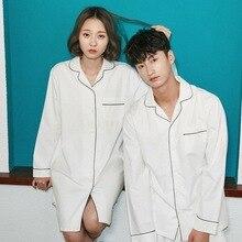 Pyjama en coton, ensemble femme blanc, uni, manches longues, vêtements de maison automne, pyjama décontracté, pour Couple