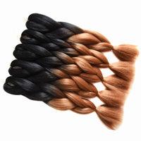 Sallyhair 10packs Ombre Braiding Bulk Hair Extension Synthetic Jumbo Crochet Braids 50 Colors Black Brown Pink Black White Women