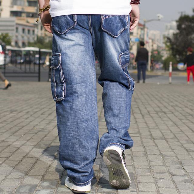 Plus Size Mens Denim Cargo Pants Jeans with Side Cargo Pocket Hip Hop Baggy Jeans Men Loose Fit Long Trousers Big Size 40 44 46