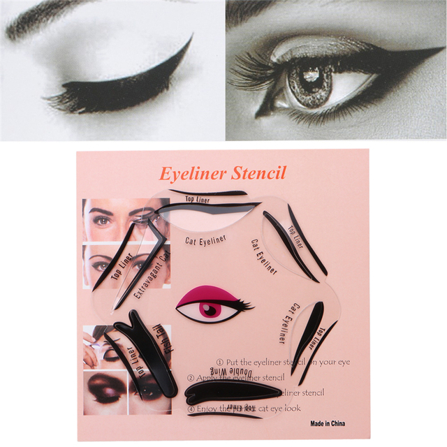6 In 1 Eyeliner Stencil Set Template Quick Cat Smoky Tool Eye Liner Makeup Guide Tool 1