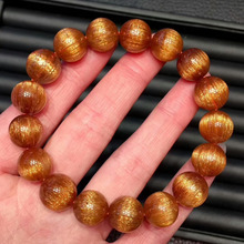 Genuine Natural Copper Rutilated Quartz Crystal Round Beads Bracelets 11mm Women Man Healing Wealthy Stone AAAAA