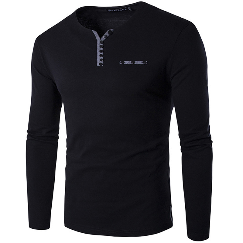 Online buy wholesale black henley shirt from china black for Black long sleeve henley shirt