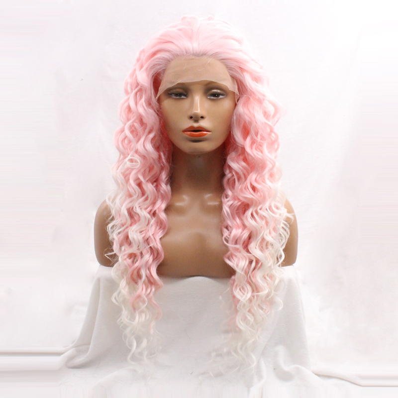 DLME Natural Hairline Two Tones Synthetic Front Lace Wig Long Ombre Pink White Guleless Deep Wave Hair Drag Queen