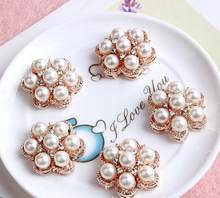 50pcs/lot metal rhinestone buttons Pearl button Hair Flower Accessories wedding embellishment scrapbooking buttons for craft(China)