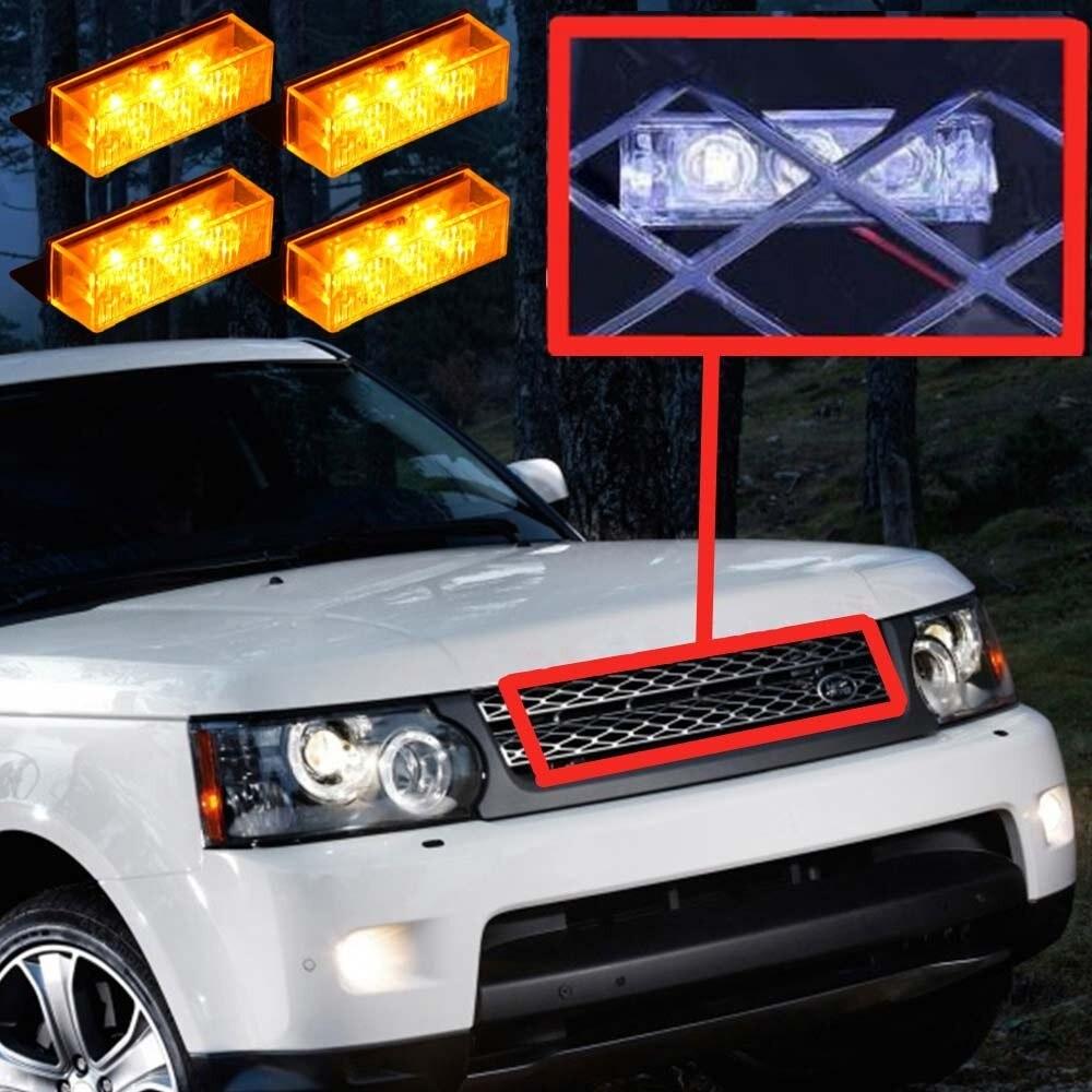 12V Car Truck Front Grille Deck Strobe Warning Light LED Flash Emergency  lamp Car Styling 3 Mode Police Dash Lights
