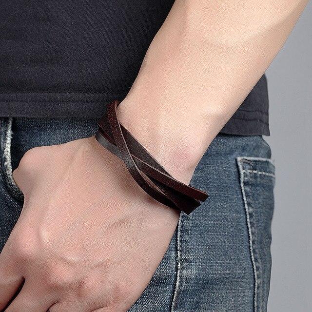 кожаный мужской браслет janeyacy 2017 ювелирные изделия с якорем фотография