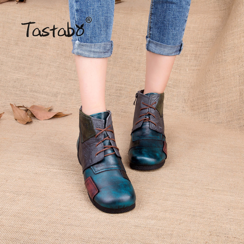 Tastabo 2017 Fashion Handmade Boots For Women Ankle Shoes Vintage Mom Shoes Folk Style Sapphire Genuine Leather Women Boots tastabo 2017 fashion handmade boots for women genuine leather ankle shoes vintage mom women shoes round toes martin boots