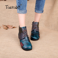 2016 Fashion Handmade Boots For Women Genuine Leather Ankle Shoes Vintage Mom Shoes Retro Folk Style