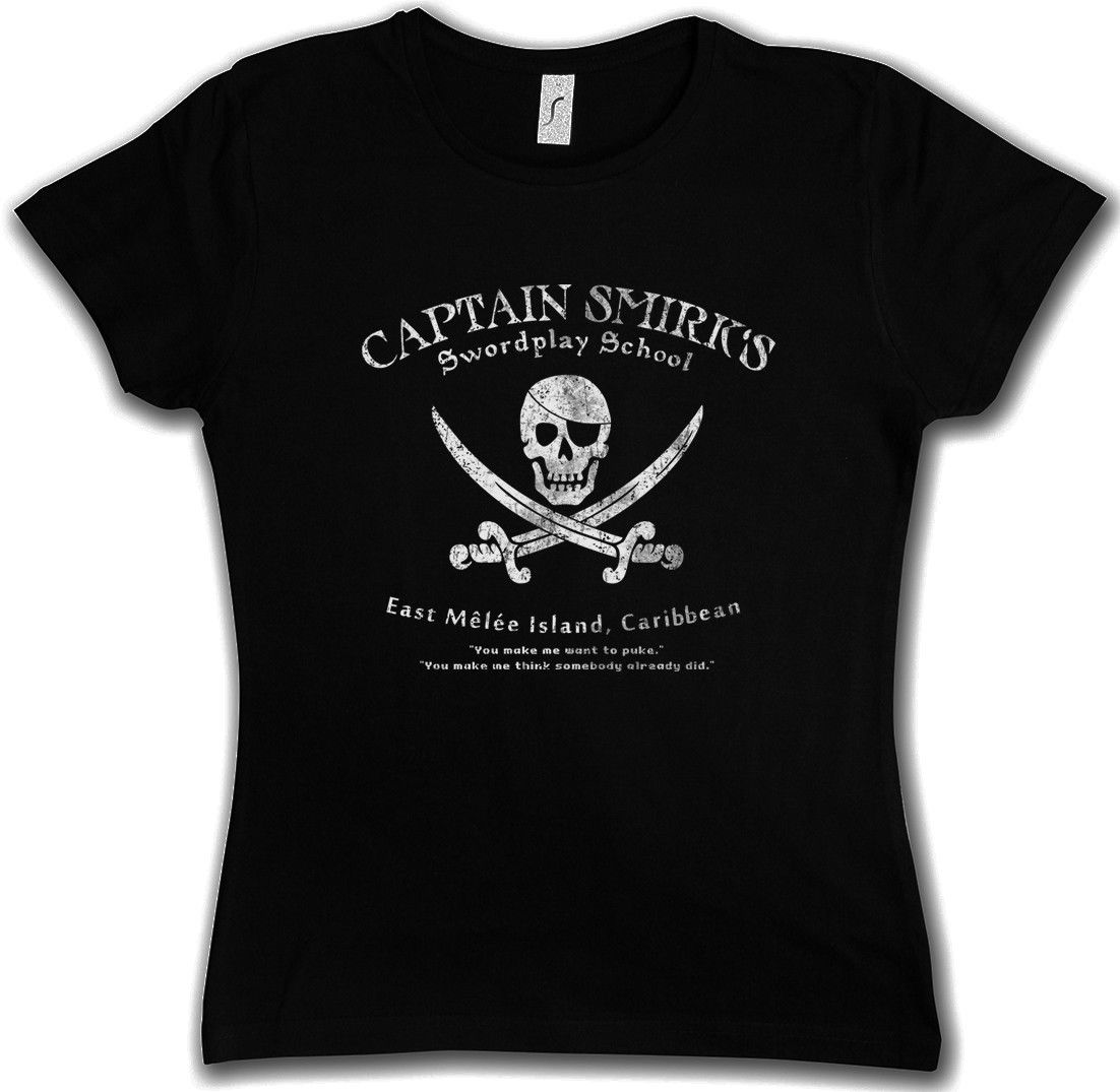 Summer Printed T- Shirts Short Sleeve O Neck CAPTAIN SMIRKS SWORDPLAY SCHOOL WOMAN T-SHIRT The Secret Caribbean of Monkey