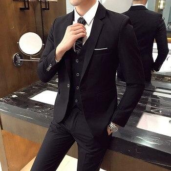 (3pcs set:Jacket+Vest+Pants) Mens Wedding Suit Male Blazers Slim Fit Suits for Men Costume Business Formal Party Classic -6XL