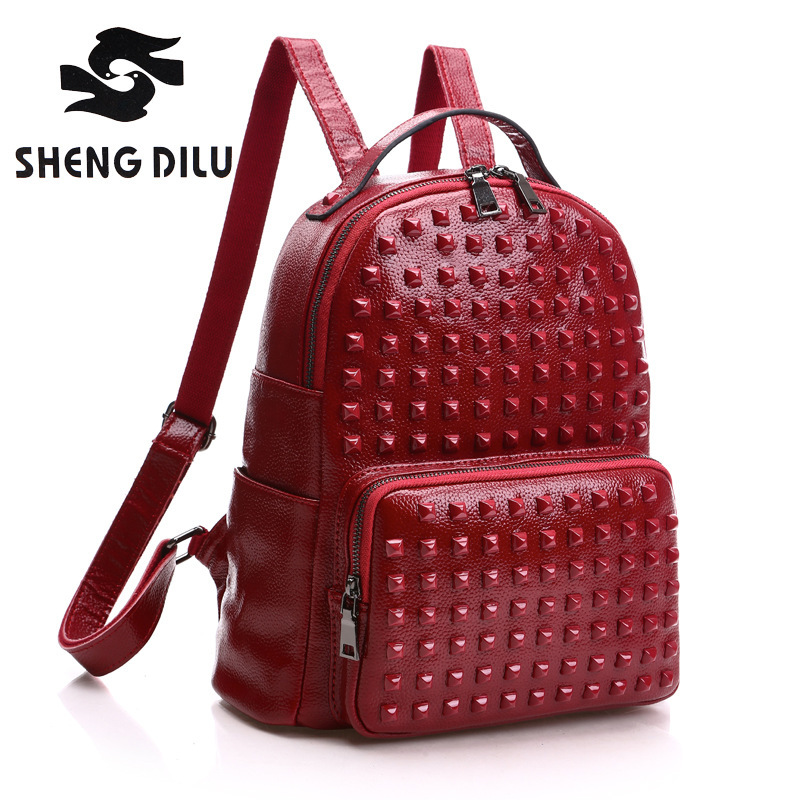 Genuine Leather Luxury Women Backpack Travel School Bags For Teenage Girls Small Laptop Backpack Rivet Casual Daypacks mochilas tiding genuine leather school backpack for teenage girls vintage stylish ladies drawstring 14 inch laptop backpack 2017