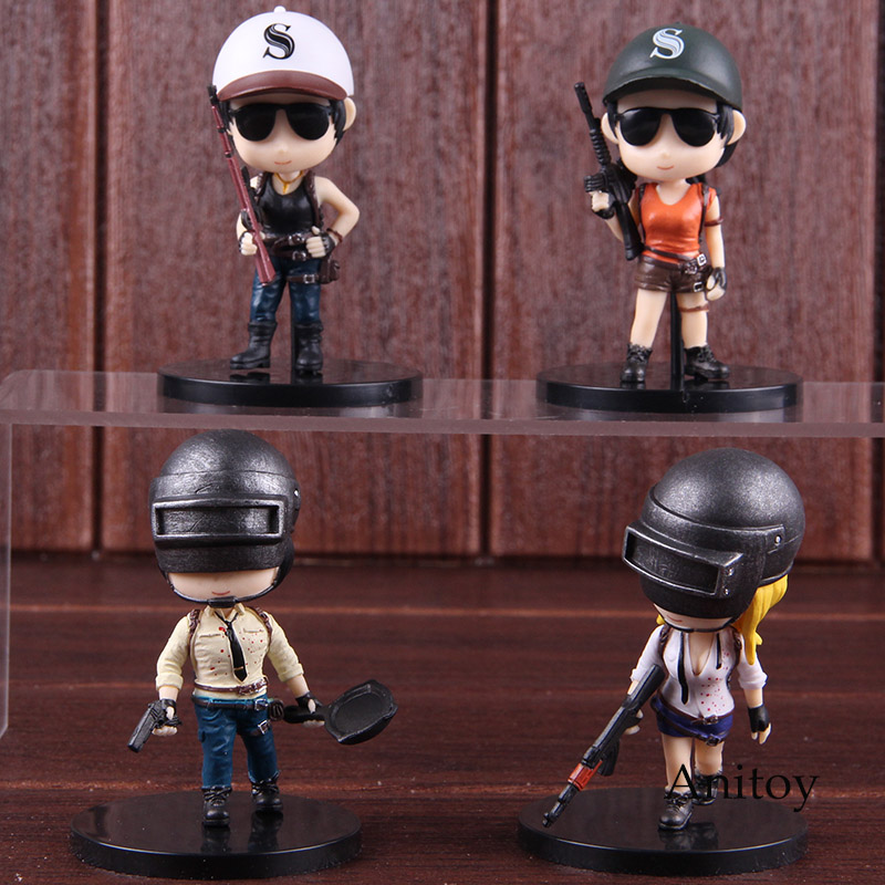 PUBG Playerunknown's BattleGrounds Q Version Hot Toys PVC Action Figure Collectible Model Toy Doll 4pcs/set 8cm playerunknown s battlegrounds pubg winner chicken bobble head action figure with magnet pvc collectible model toy 2pcs set