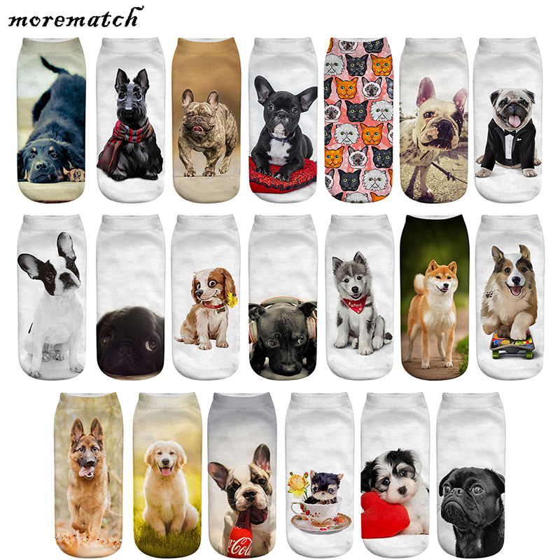 Morematch 1 Pair Women Ankle Sock Cute Dogs Pattern Cotton Socks 3D Printing Funny Socks 20 Style Optional