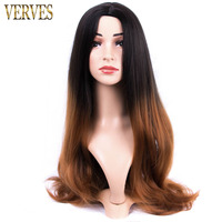 Synthetic Hair Wigs Natural brown Long wavy Heat Resistant Wigs For Black Women VERVES ombre two tone color hair