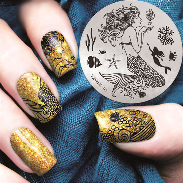 Mermaid Sea Nail Stamping Plates Fish Nail Art Stamp Plate Nail Design Nail  Image Plate Stamping - Mermaid Sea Nail Stamping Plates Fish Nail Art Stamp Plate Nail
