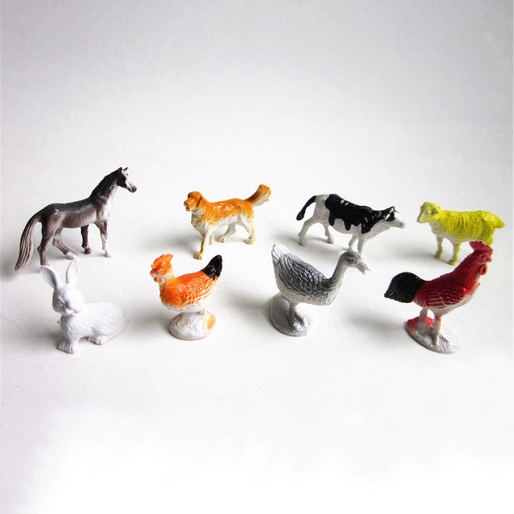 8Pcs Small Farm Animals Models Figures Figurines Set Toys Plastic Simulation Horse Cat Dog Cow Pig Sheep Chicken Duck Gift Kids