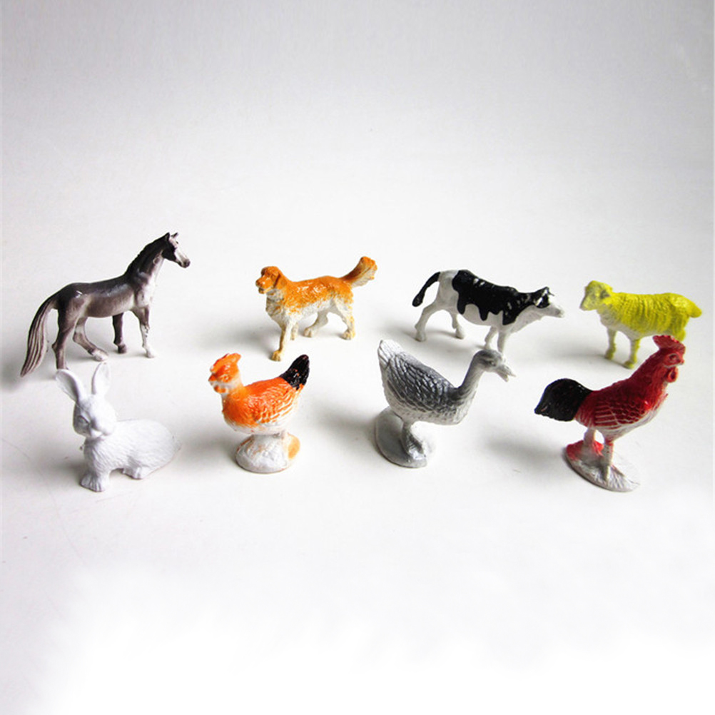 8Pcs Small Farm Animals Models Chicken Duck Gift Kids Figures Figurines Set Toys Simulation Horse Cat Dog Cow Pig Sheep image