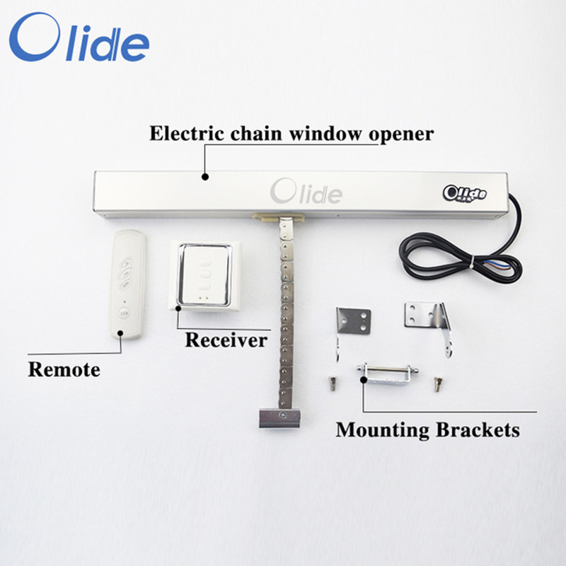 Olide Electric Chain Window Opener With Remote Control,Automatic Window Closer With Receiver 24VDC remote control single chain home window opener home window actuator remote control single chain