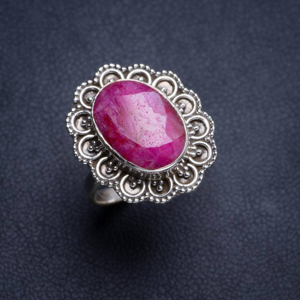 цена Natural Cherry Ruby Handmade Unique 925 Sterling Silver Ring 7.5 Y4743