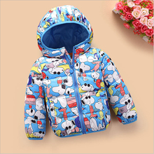 1-7Y kids winter jacket for boys girls cartoon print toddler baby outerwear coat hooded thermal children clothing down & parkas