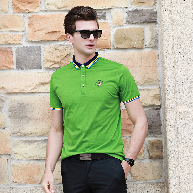 2018 New   polo   shirt men summer fashion solid short sleeve loose cotton embroidery business casual homme camisa plus size p-8002