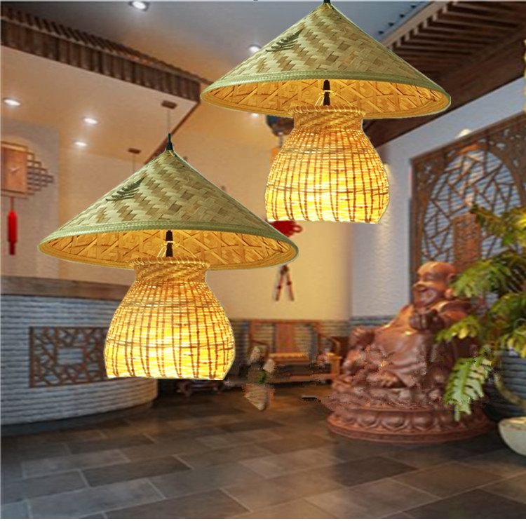 Creative personality restaurant Pendant Lights bar decoration lamp Chinese bamboo hats hat Hot pot restaurants Pendant Lamps new arrival modern chinese style bamboo wool lamps rustic bamboo pendant light 3015 free shipping