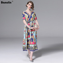 Banulin 2019 HIGH QUALITY Runway Dress Womens V Neck Short Sleeve Lace Up Belt Elegant Printed Beach Boho Long B8025