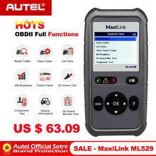 Outil de Diagnostic automatique de voiture Autel MaxiLink ML529 OBD2 Scanner OBD 2 lecteur de Code EOBD fonctions de Diagnostic OBDII complètes PK Al519 AL529