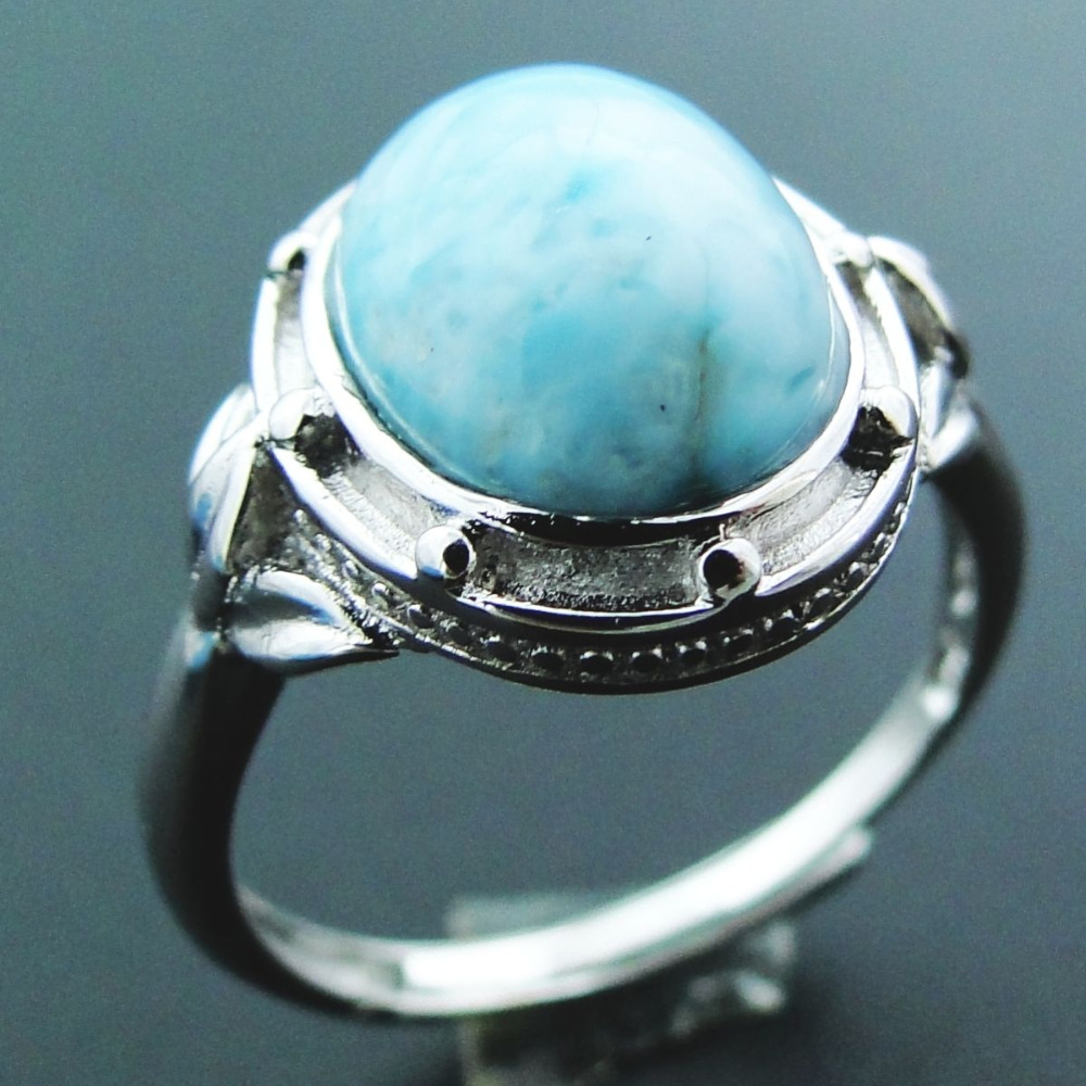 New Unique Natural Caribbean Blue Larimar 925 Sterling Silver Ring Oval Shape 11X9MM Gemstone Resizable Rings for Women and Men