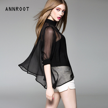 ANNROOT Black women shirt Summer 2017 high-quality new sexy shirts for women fashion small vest casual chiffon shirt female