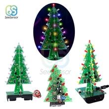 Трехмерный 3D светодиодный Набор для творчества с рождественской елкой, 7 цветов, красный/зеленый/желтый светодиодный набор для вспышки, электронный набор праздничного декора