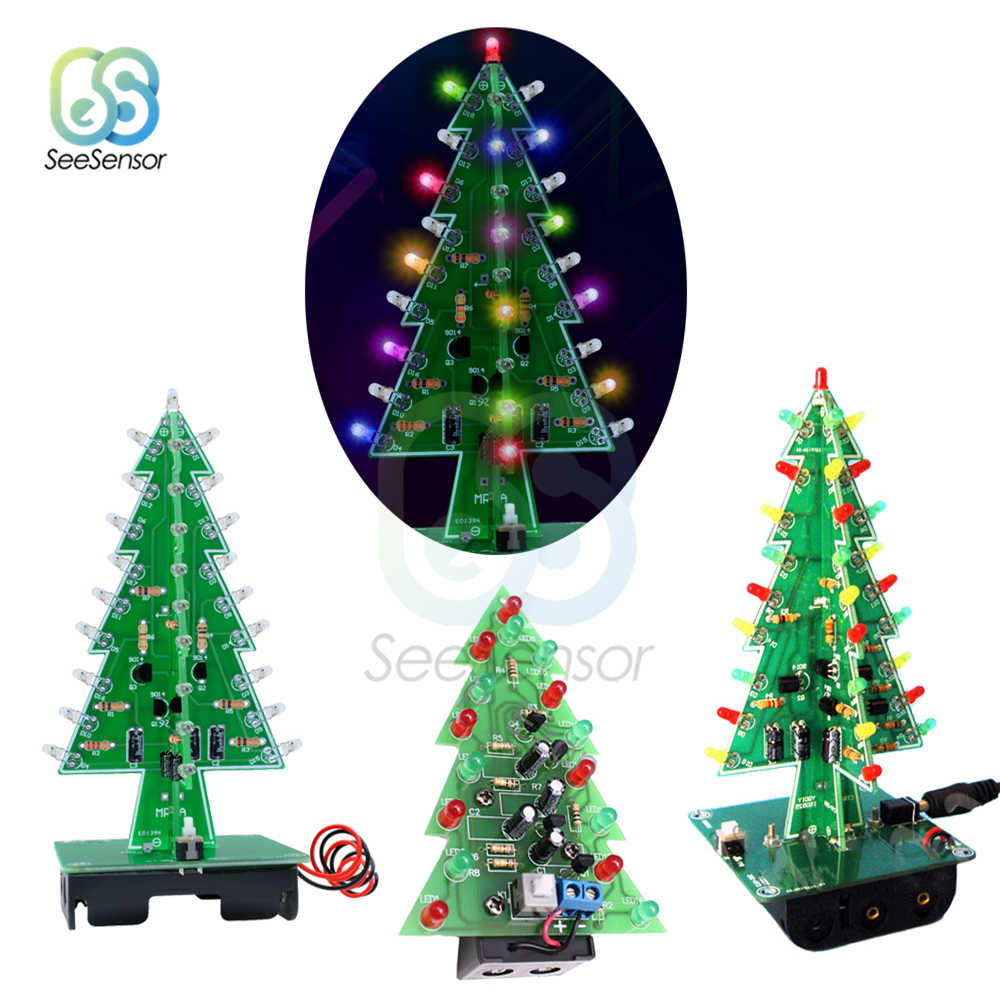 Tiga Dimensi 3D Pohon Natal Led Diy Kit 7 Warna Merah/Hijau/Kuning Led Flash Sirkuit Kit Elektronik Suite holiday Dekorasi