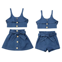 цена на 2019 Summer Toddler Baby Girl Clothes Sets 1-6Y Denim Blue Tops Skirts/Shorts Outfits Kids Girls Dresses Baby Girls Clothes Set