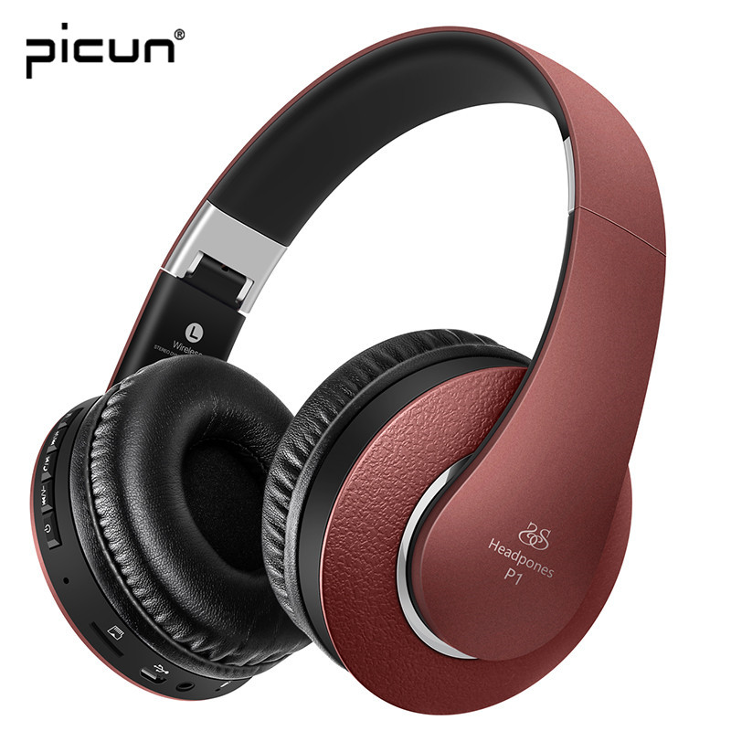 Picun P1 Wireless Bluetooth Stereo Bass Headphone Support TF Card With Microphone FM Radio Headsets for iPhone Android Xiaomi ats 829 led mega bass bluetooth speaker with tf card slot aux in fm radio microphone for iphone samsung pink