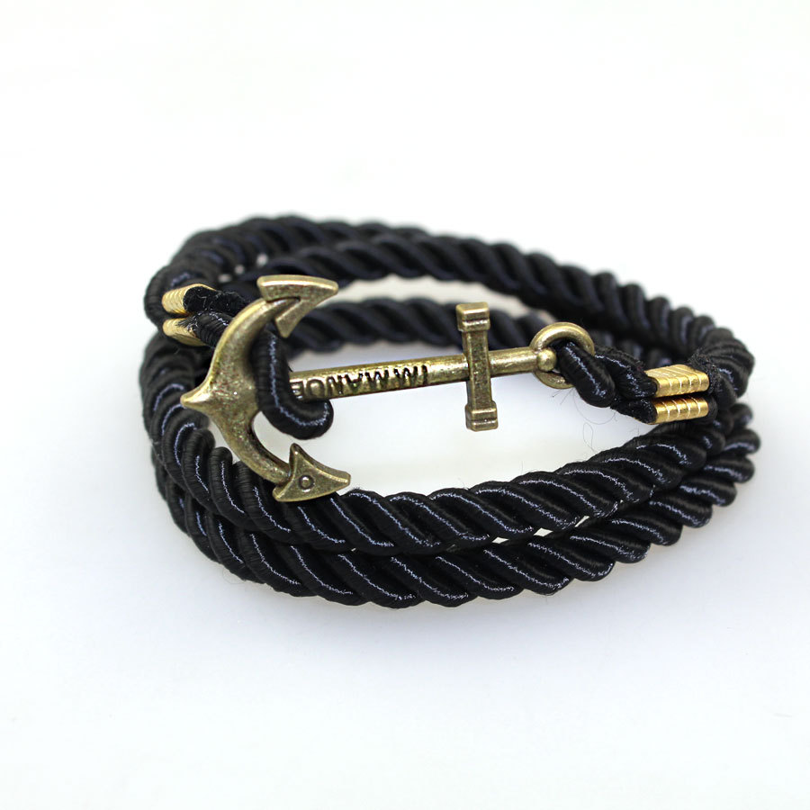 2016 Summer Style Friendship Anchor Charm Bracelets Fashion Vintage Leather..