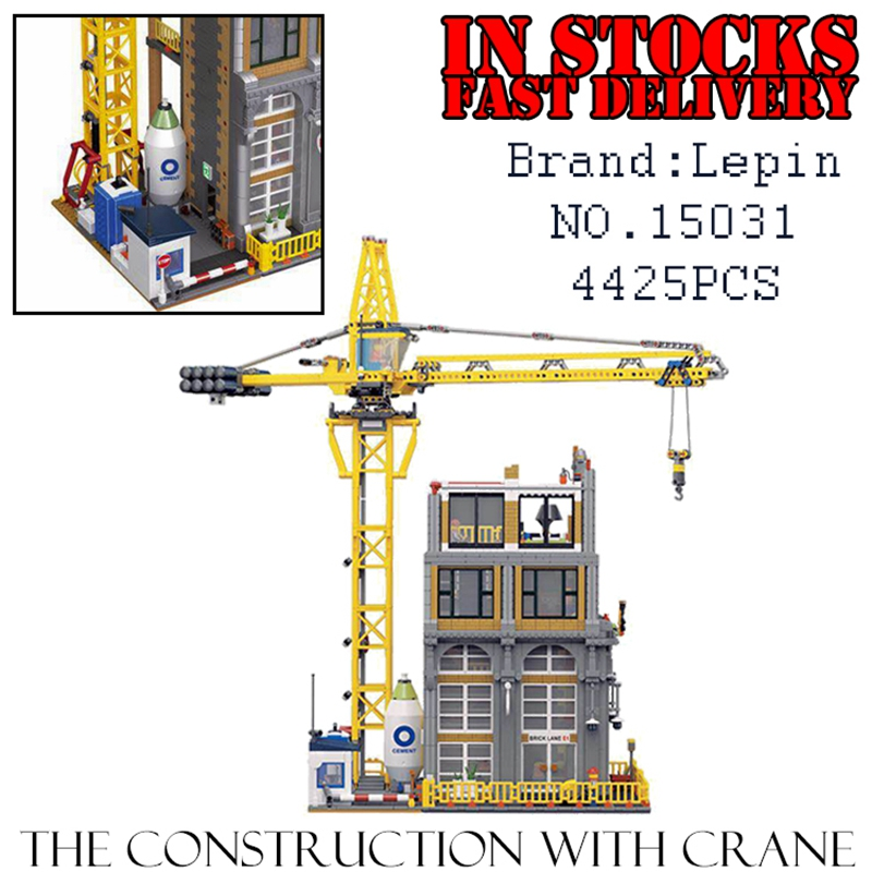 LEPIN Creator 15031 4425PCS The Construction with Crane Building Blocks Bricks enlighten toys for children gifts brinquedos building blocks super heroes back to the future doc brown and marty mcfly with skateboard wolverine toys for children gift kf197