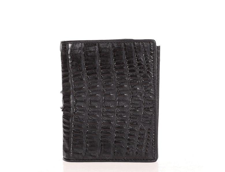 Genuine leather crocodile short folder casual wallet for men