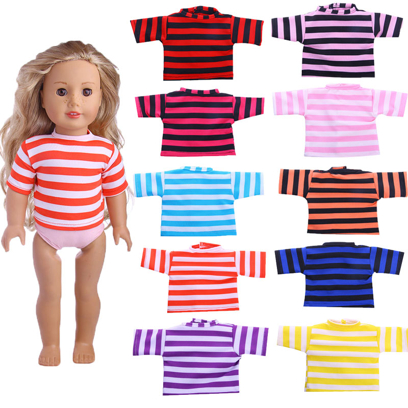 10 Colors Striped T-shirt Fit 18 Inch American&43 CM Baby Doll Clothes Accessories,Girl's Toys,Generation,Birthday Gift