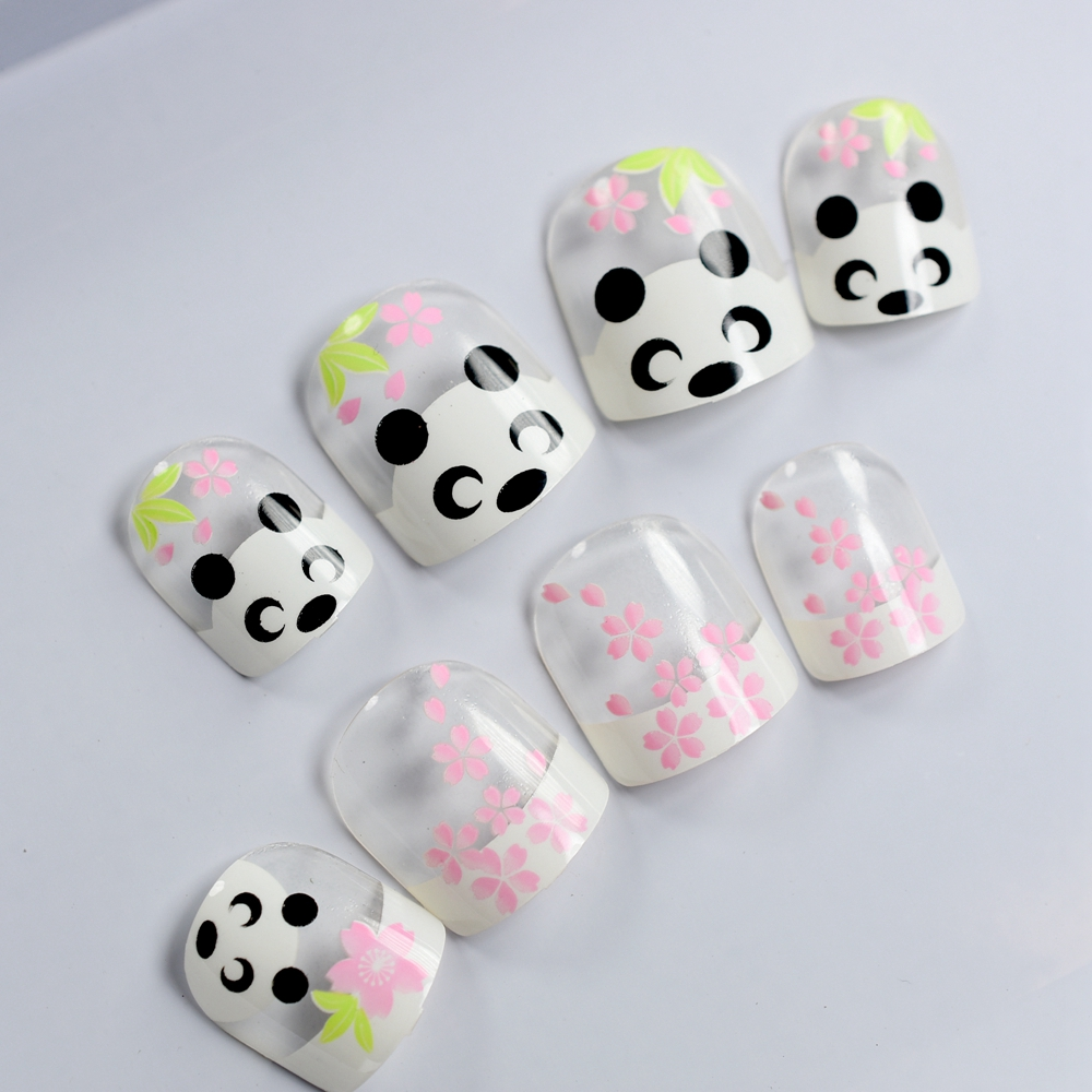24pcs/set Kids Nail Tip Kawaii Short Little French Acrylic Girlie ...