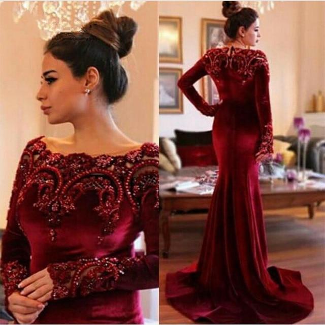 Vintage Burgundy Velvet Prom Dresses Sexy Scoop Neck Long Sleeve