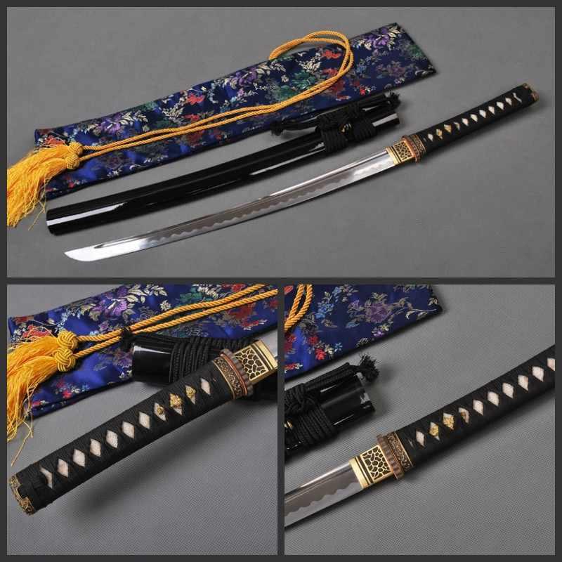 SHI JIAN T10 Nhật Bản Wakizashi Samurai Thanh Kiếm Đầy Đủ Tang Sharp Thanh Kiếm Cắt Thực Hành Kim Loại Trang Trí Nội Thất Samurai Cosplay