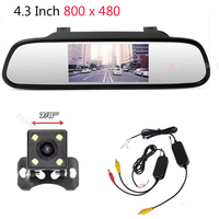 3 In 1 Hd 4 3 Inch Car Rearview Mirror Monitor 2 4Ghz Wireless Video Transmitter