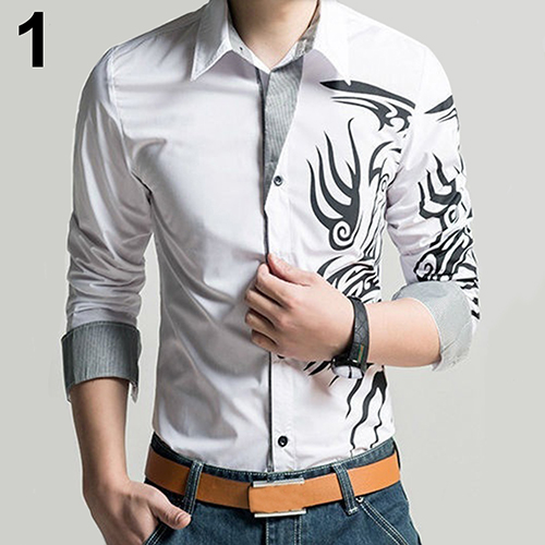 Men Fashion Dragon Pattern Printing Shirt Long Sleeve Slim Fit Lapel Top