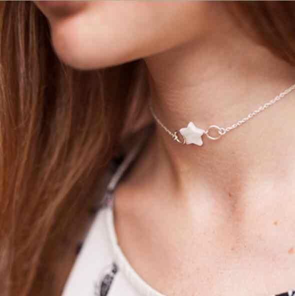 Cadena de clavícula de estilo Simple de tenandode pájaros ancla concha de Paloma corazones collares y colgantes para mujeres gran oferta Colar Día de San Valentín