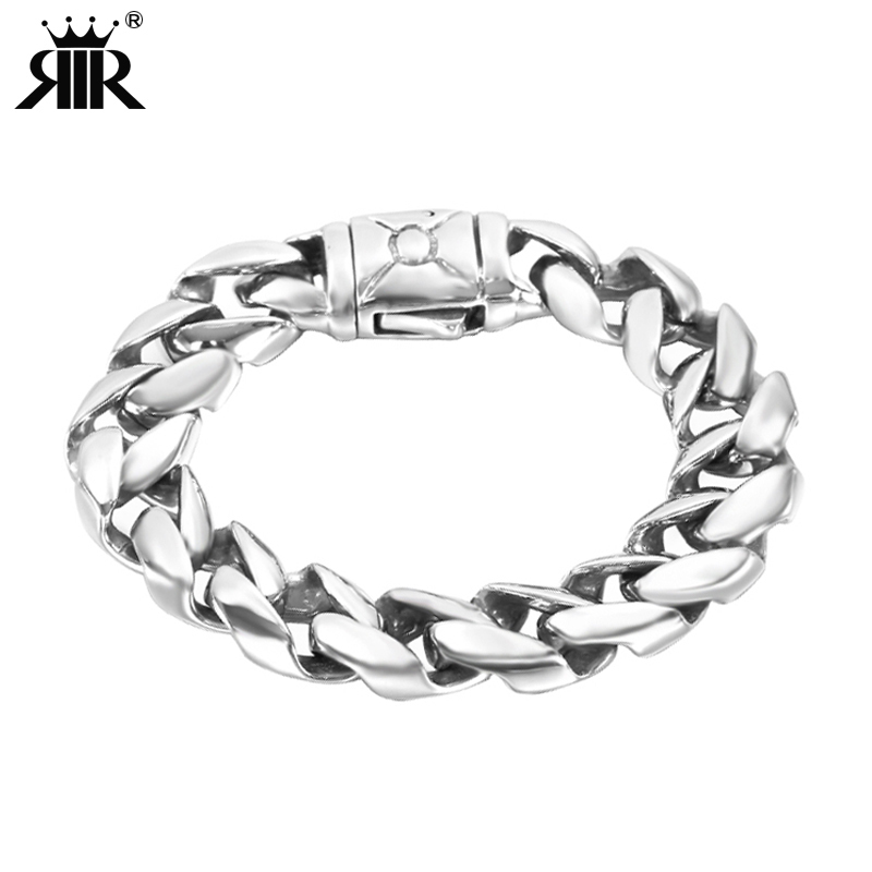 RIR Minimalist Heavy Mens Bracelet Silver Stainless Steel Viking Big Chain Bracelet Cool Men Jewelry Gifts For Him