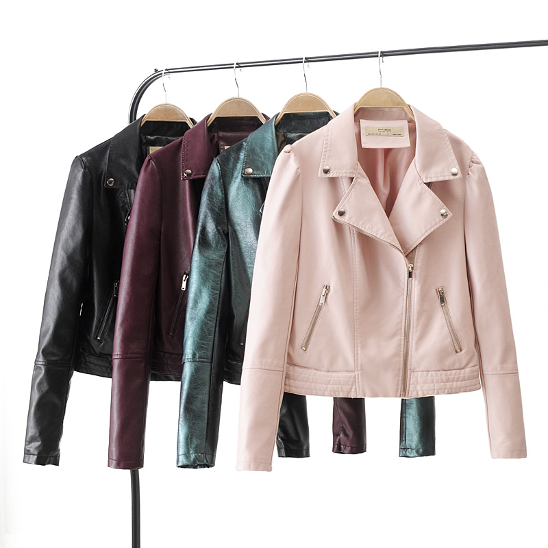 Motorcycle PU   Leather   Jacket Women Winter And Autumn New Fashion Coat 3 Color Zipper Outerwear jacket New 2019 Coat HOT