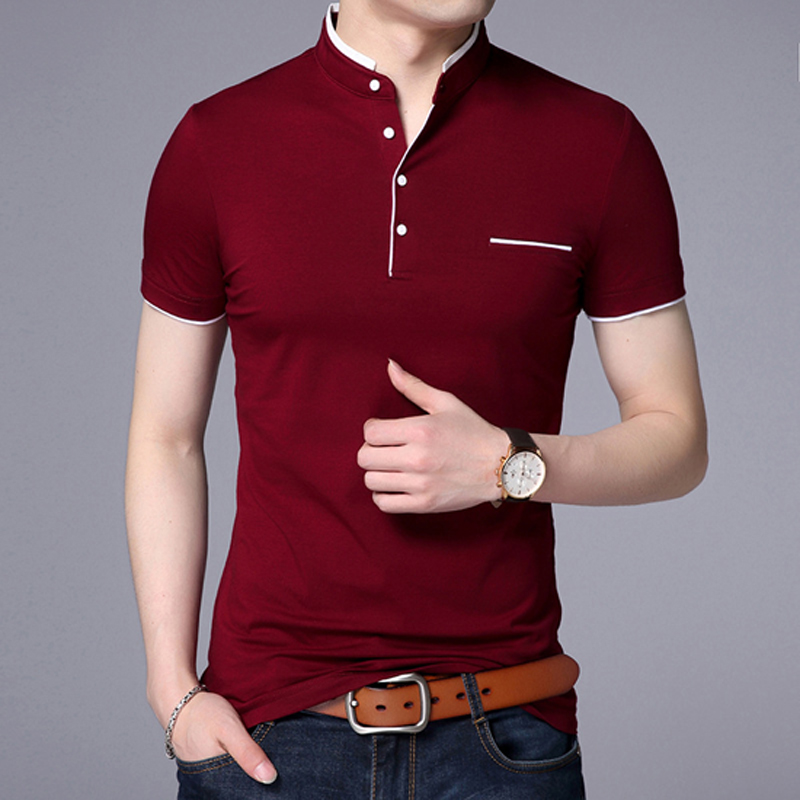 Summer 2018 mans T-shirt New Cotton Brand Clothing Solid Color Slim Fit Short Sleeve T Shirt Men Mandarin Collar Casual t-shirt