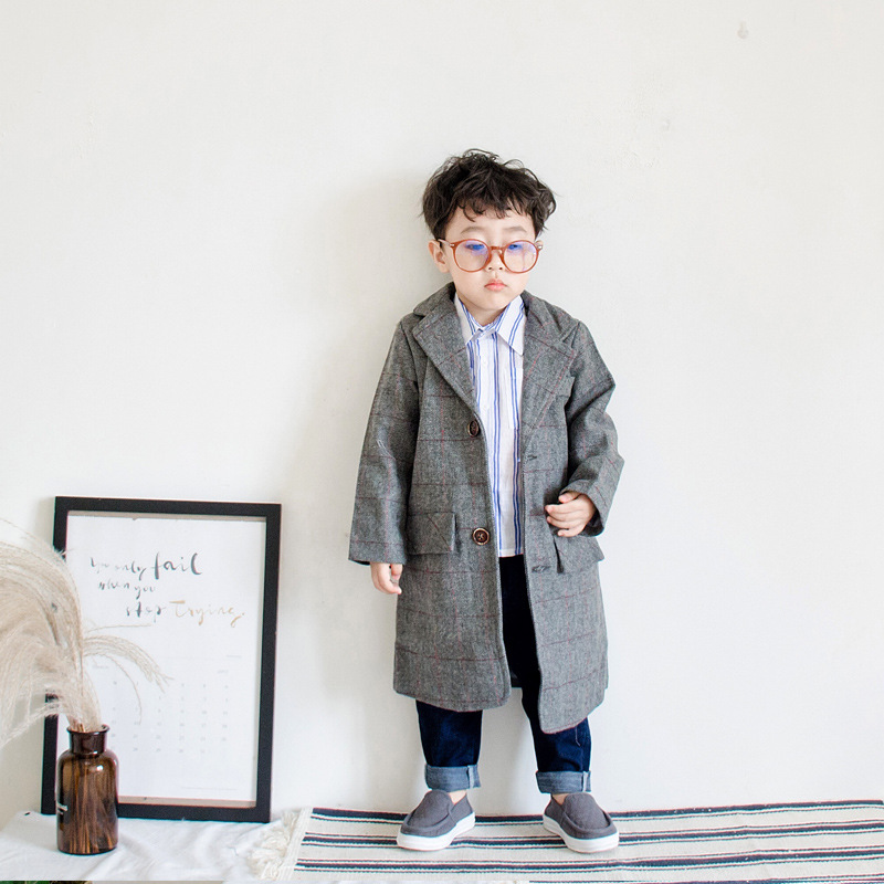 Boy wool coat 2018 Winter Coat children's Wide Lapel Pocket Wool Blend Coat Oversize Long gray Trench Coat top Outwear Cardigan notch lapel faux flap pocket texture cardigan